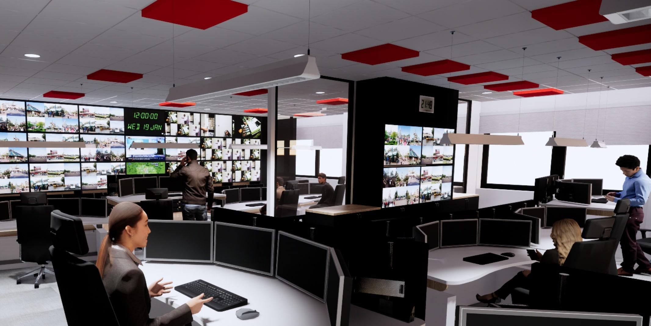 Parc attractionssalle de controle salle de supervision par SOA Agencement bureau d'études pour CSU, entreprises et industriels.
